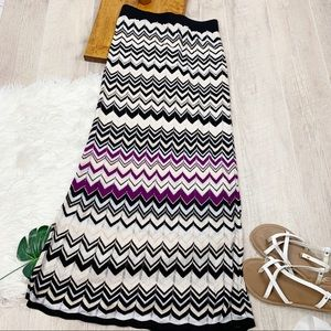WHBM Striped Knit Stretch Maxi Skirt Sm D1265